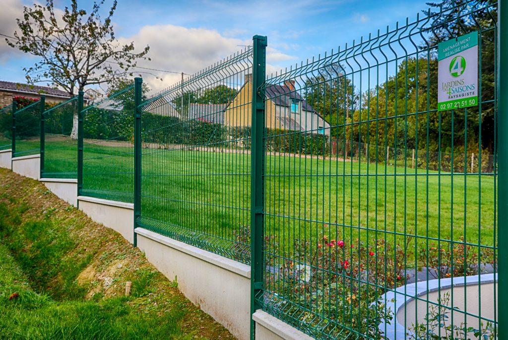 Clôture panneau rigide vert. Jardins des 4 Saisons. Guer, Ploërmel, Redon, Plélan-Le-Grand, Maure de Bretagne