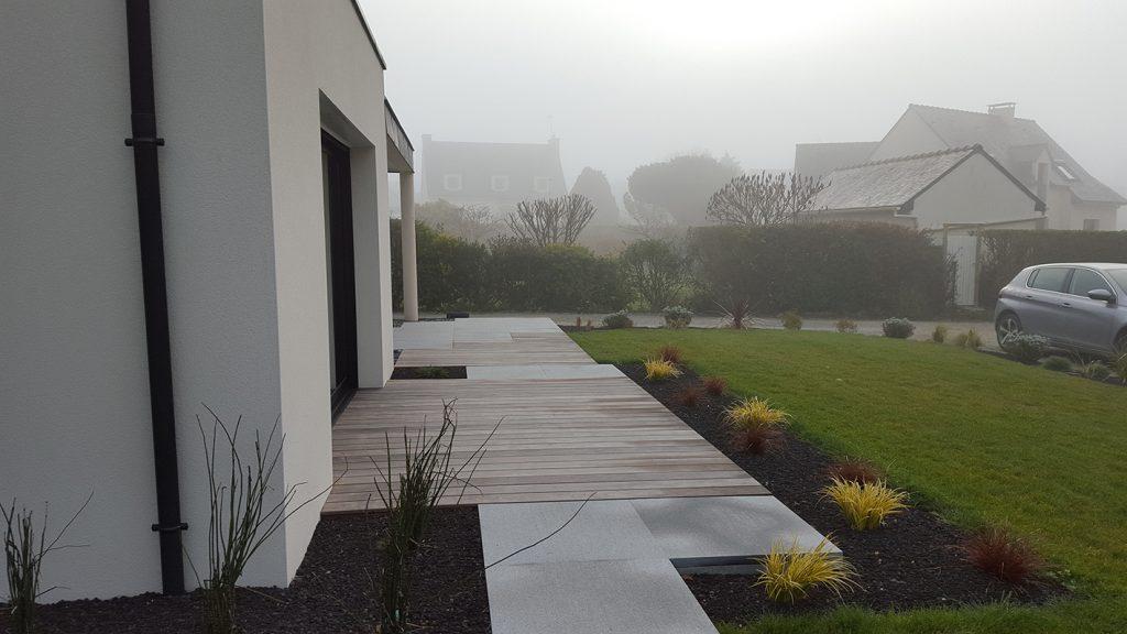 Terrasse bois . Jardins des 4 Saisons. Guer, Ploërmel, Redon, Plélan-Le-Grand, Maure de Bretagne