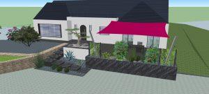 Projet 3D. Terrasse. marche suspendue. escalier suspendu. jardinière. brise-vue végétal. Voile d'ombrage. Jardins des 4 Saisons. Guer, Ploërmel, Redon, Plélan-Le-Grand, Maure de Bretagne